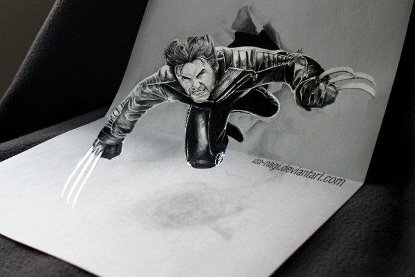Wolverine 3D drawing by Iza Nagi