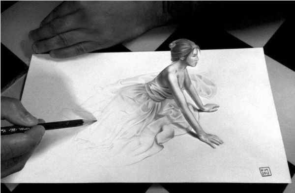 Sitting Girl 3D drawing by KIM