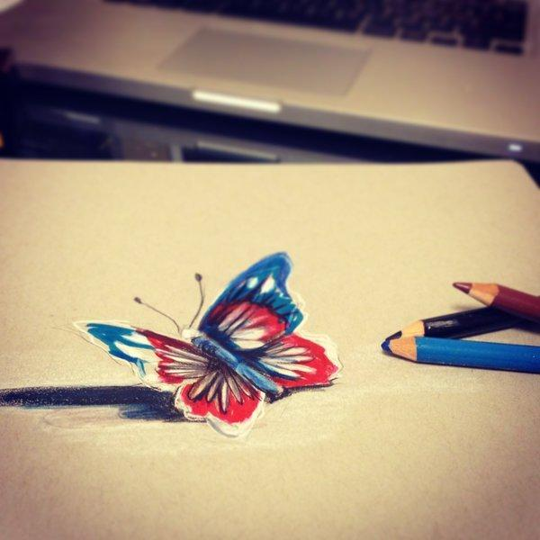 Butterfly 3D drawing by Lucky978