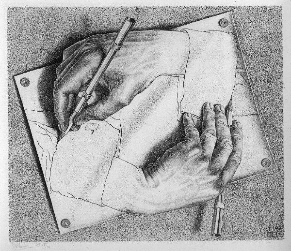 Drawing Hands 3D drawing by M.C. ESCHER
