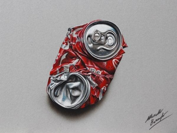 Crushed Coke Can 3D drawing by Marcello Barenghi
