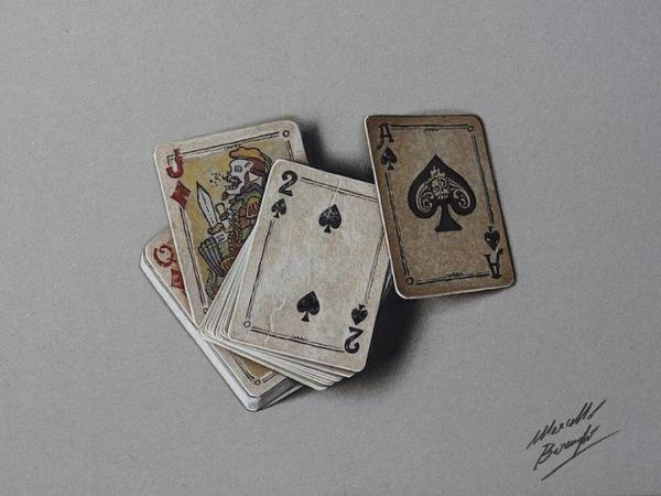 Old Deck of Cards 3D drawing by Marcello Barenghi