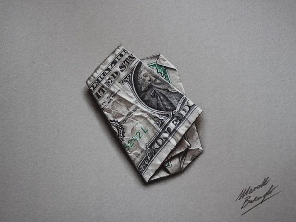 Squashed  Dollar Bill 3D drawing by Marcello Barenghi