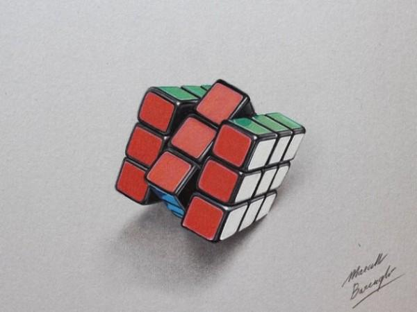 Rubik's Cube 3D drawing by Marcello Barenghi