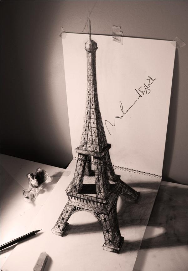 Eiffel Tower 3D drawing by Muhammad Ejleh