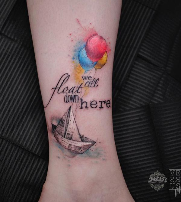 Origami boat and balloon tattoo-90