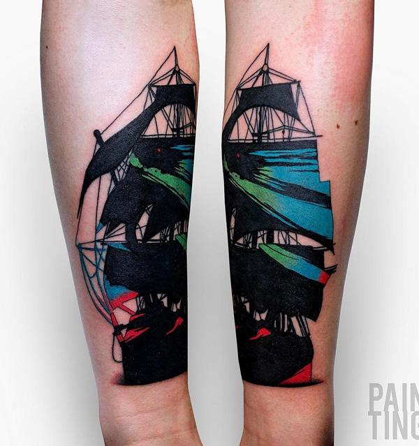 Painting style boat tattoo-74