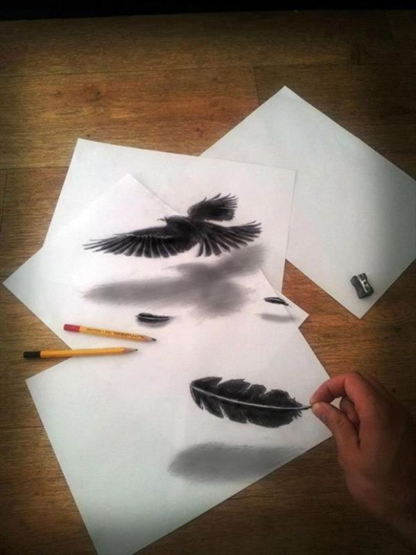 Feathers - 3D drawing by Ramon Bruin