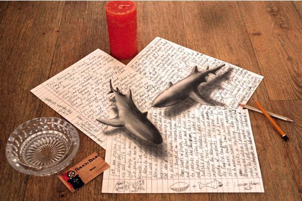 Sharks 3D drawing by Ramon Bruin