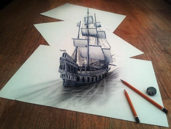 Sailing boat 3D drawing by Ramon Bruin