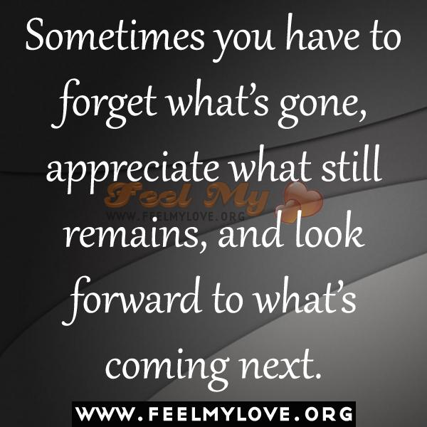 Sometimes you have to forget waht's gone, appreciate what still remains, and look forward to what's coming next