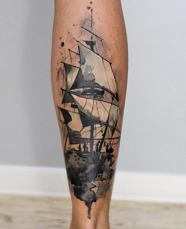 Watercolor boat calf tattoo-79