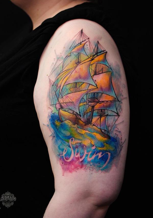 Watercolor boat half sleeve tattoo-48