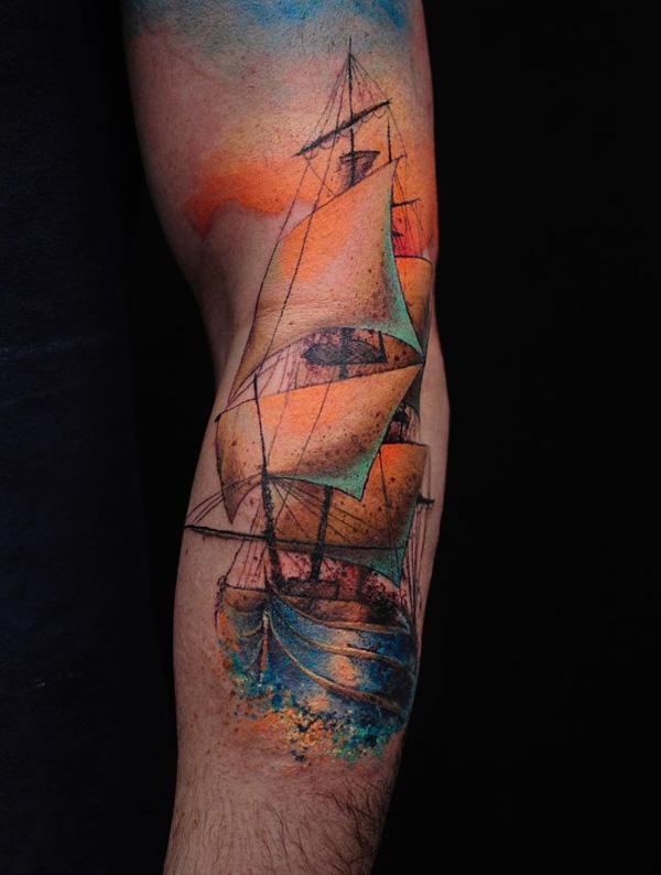 Watercolor boat sleeve tattoo-69
