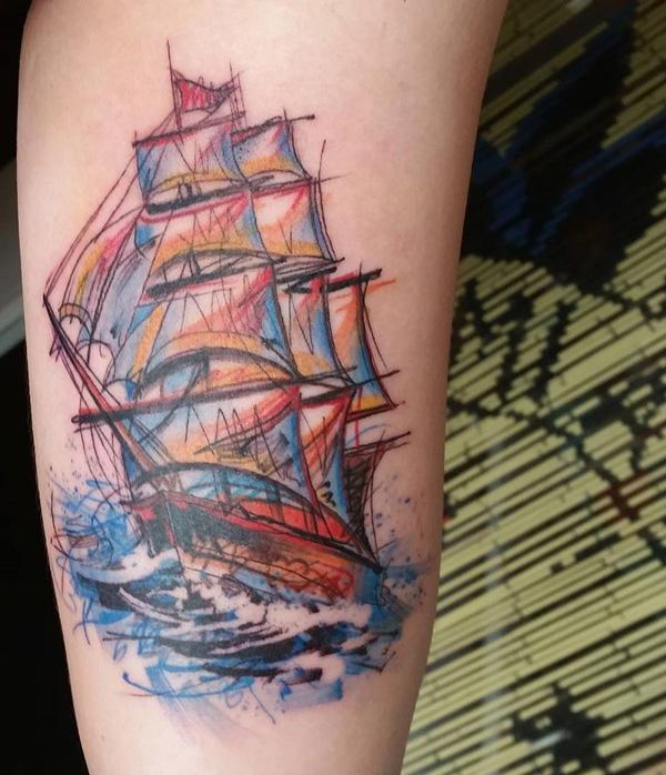 Watercolor boat tattoo-51
