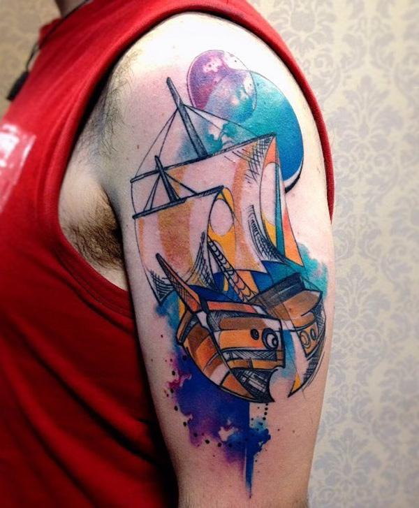 Watercolor boat tattoo-64