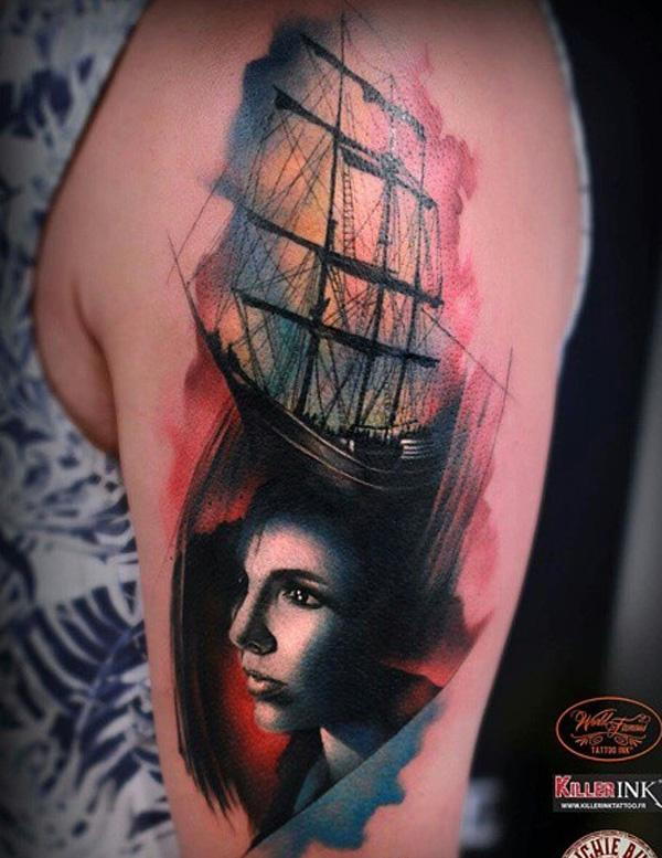 Watercolor boat with portrait tattoo for women-71