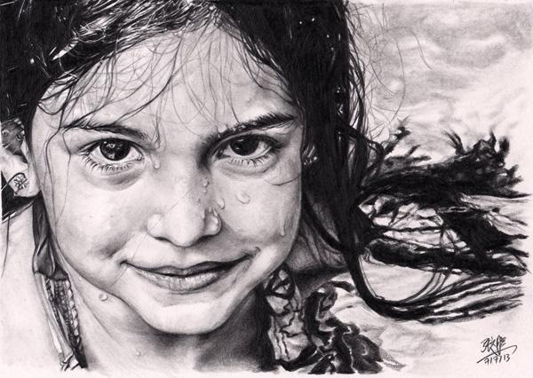 Digital Pencil Drawing Wet Face Pencil Drawing by