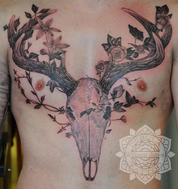 be803ef329840 Stag Skull Tattoo - 45 Inspiring Deer Tattoo Designs <3 <3 ...
