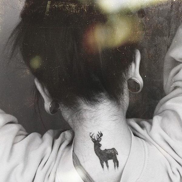 Tiny Deer Neck Tattoo