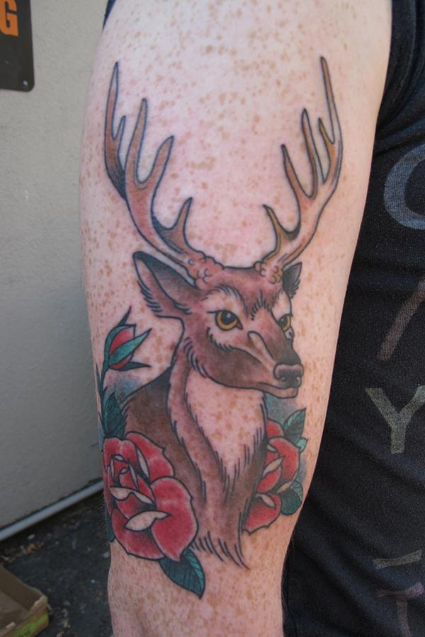 Roses and Deer Tattoo
