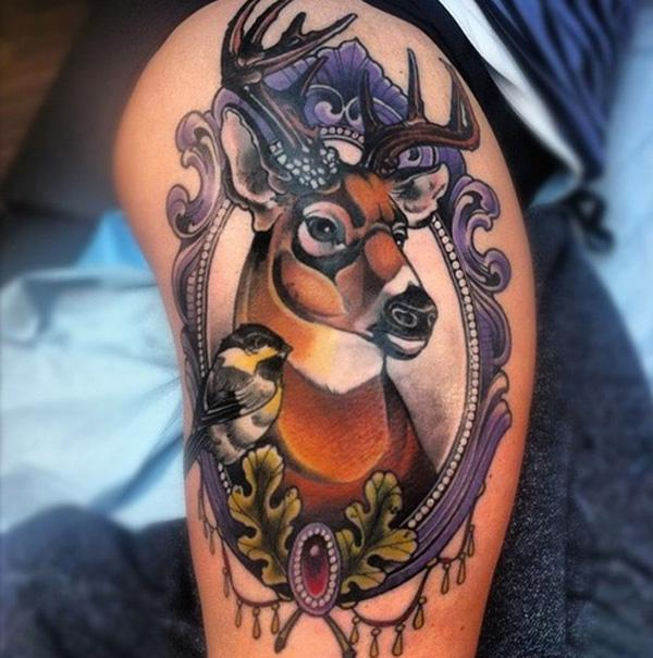 Bird and Deer tattoo on Thigh for Women