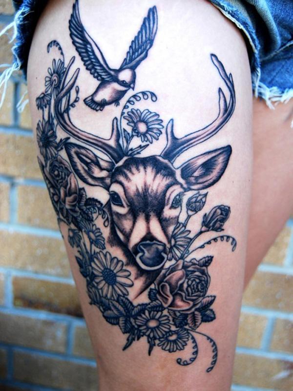 Deer and bird Tattoo