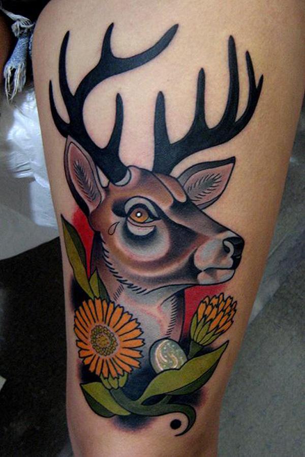 Deer Mural Thigh Tattoo