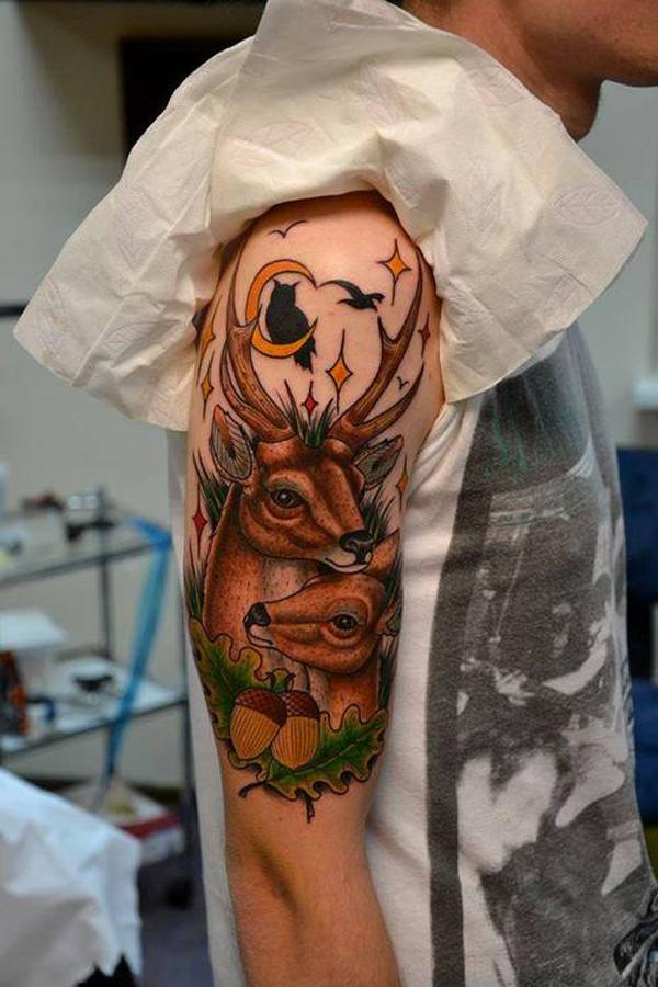 Half Sleeve Tattoo Design Template Deer Tattoo on Half Sleeve