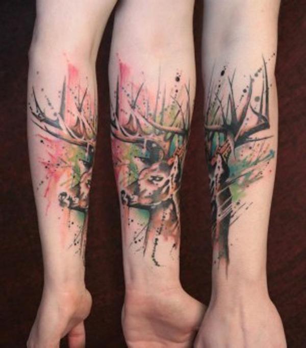 Forearm Watercolor  Deer Tattoo
