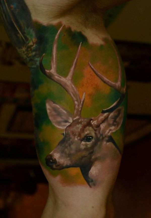 Photo-realistic Deer Tattoo