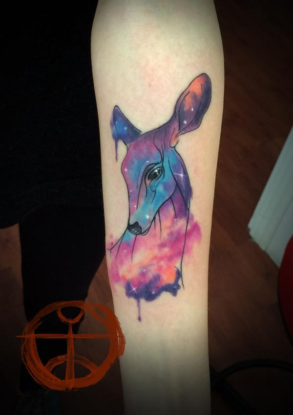Colorful Deer Forearm Tattoo