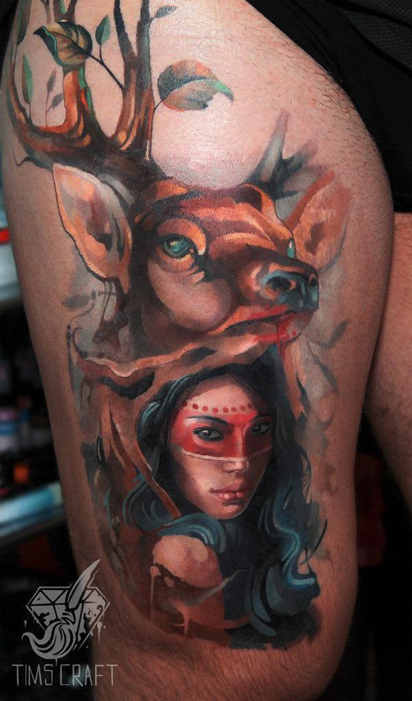 Wonder Woman and Deer Tattoo