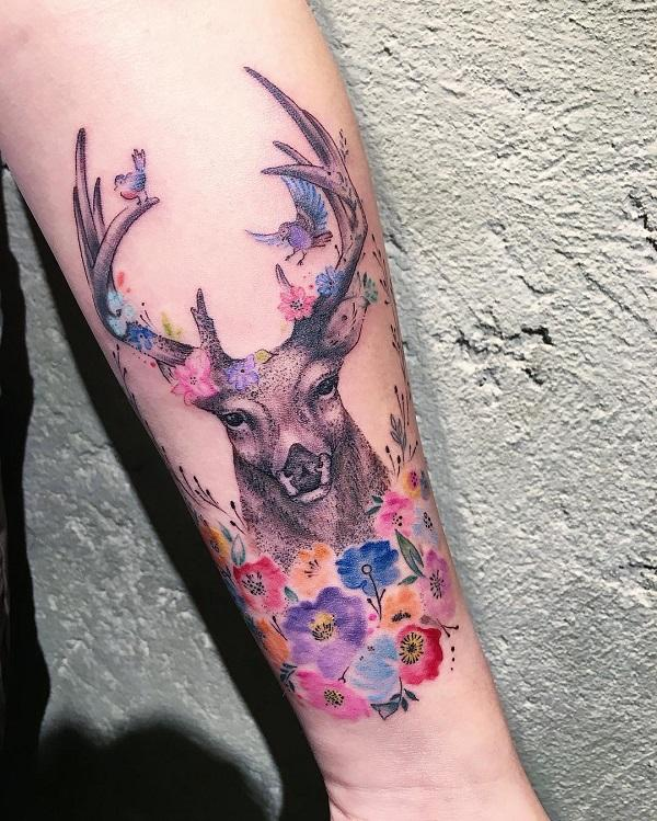 45 inspiring deer tattoo designs art and design rh cuded com show me pictures of deer tattoos pictures of deer track tattoos