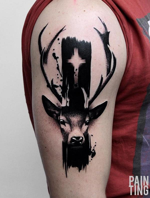 Deer Cross half sleeve tattoo