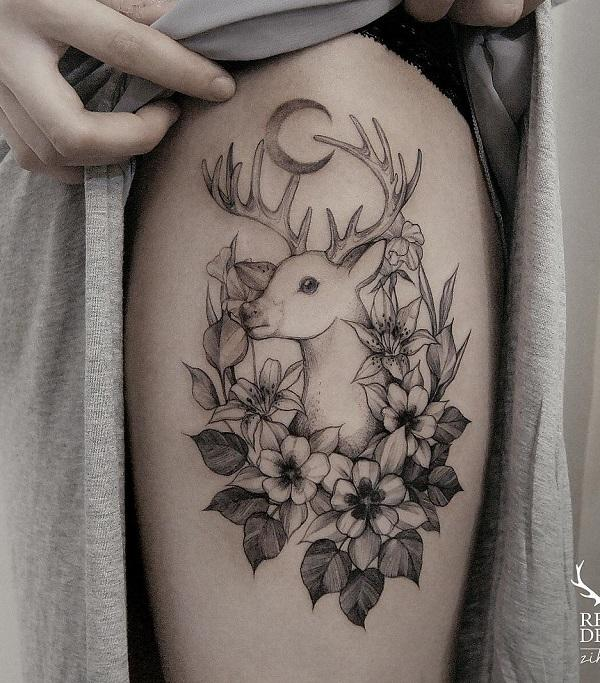 Crescent Moon, Deer and flower thigh tattoo