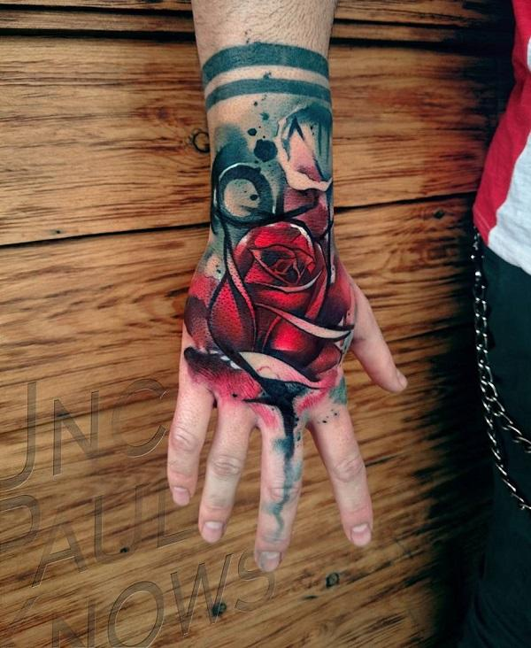 c2d065d27 Watercolor rose hand tattoo - 60 Eye-Catching Tattoos on Hand ...