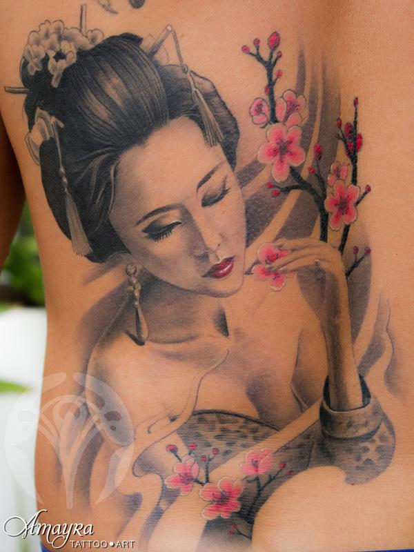 Realistic Geisha Flower Tattoo