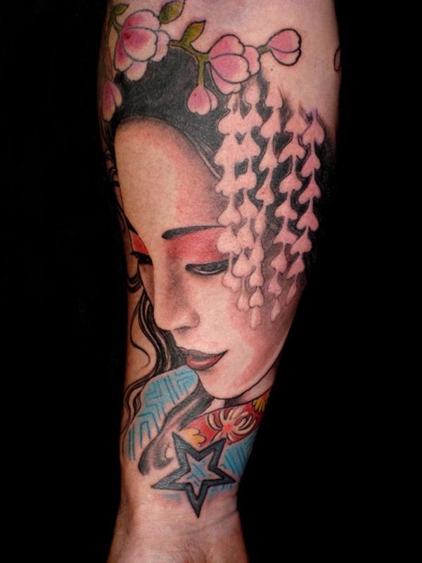 Geisha Portrait Forearm Tattoo