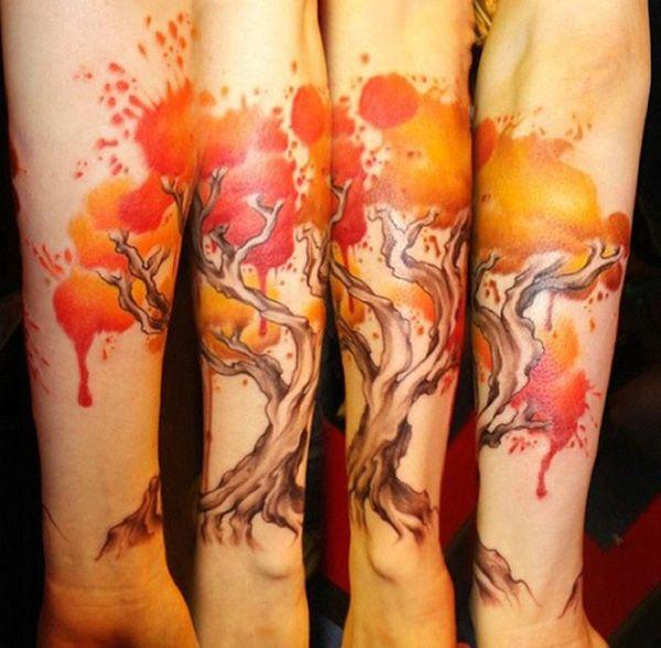 Leaf Watercolor Tattoo Watercolor Fall Tattoo 40