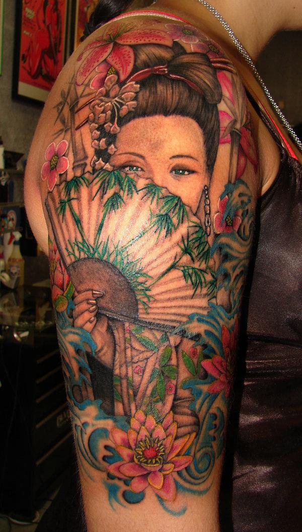 Geisha Upper Sleeve Tattoo