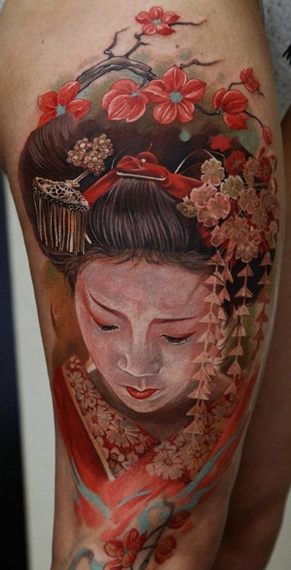 Colorful Realistic Geisha Tattoo