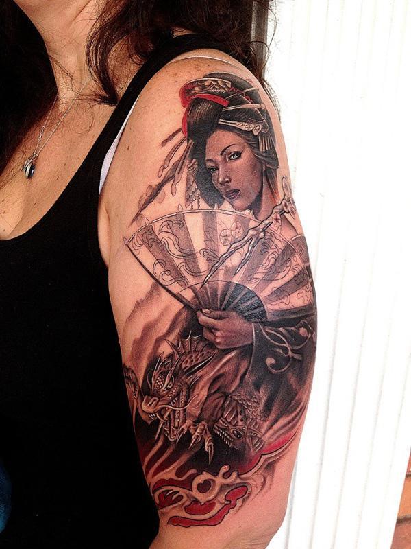 Geisha Sleeve Tattoo for Women