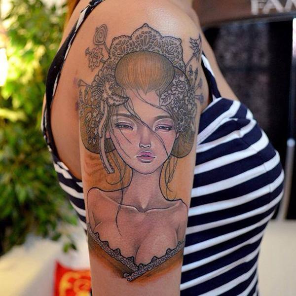 Geisha Illustration Tattoo