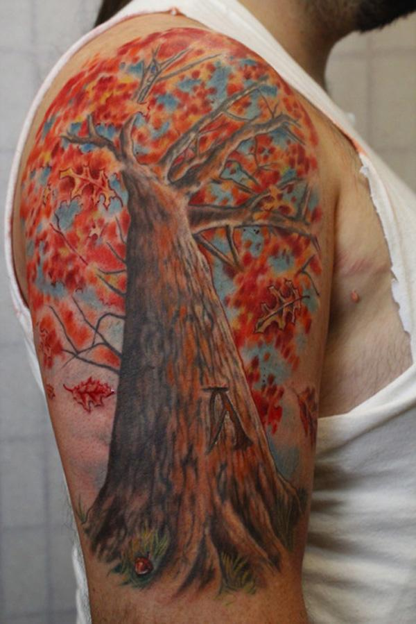 The gallery for fall leaves tattoo for Fall tree tattoo