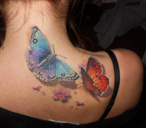 Realistic Butterfly And Flowers Tattoos 3d Flower And Butterfly Tattoo Dandelion Bird Tattoo On Side