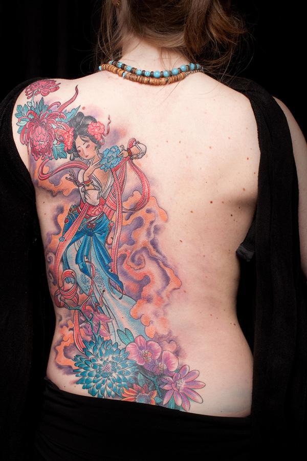 Half-back Geisha Tattoo Design