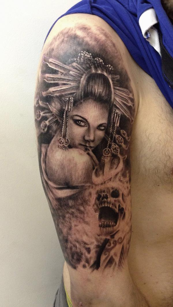 Geisha Skull Tattoo