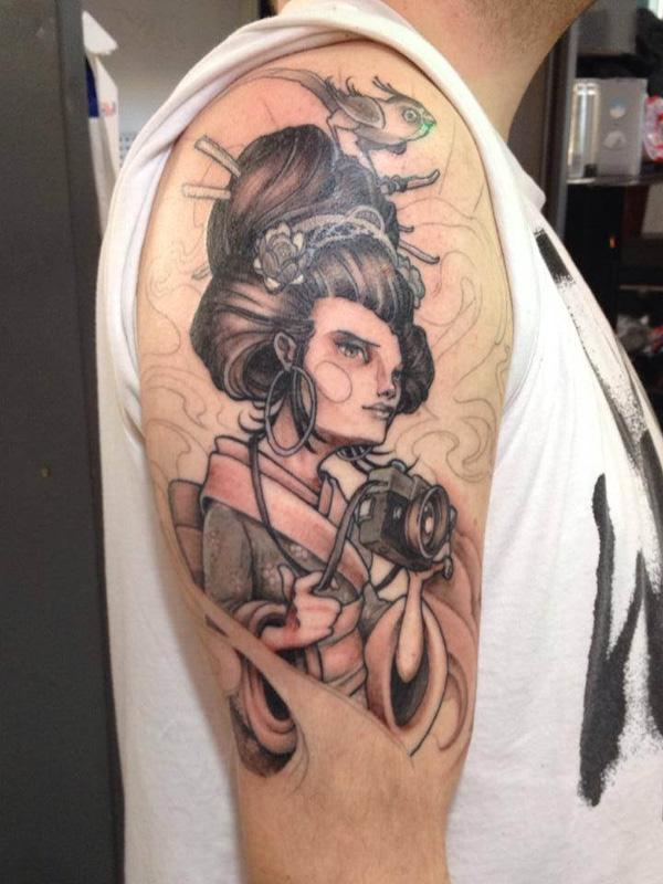 Creepy Geisha Sleeve Tattoo
