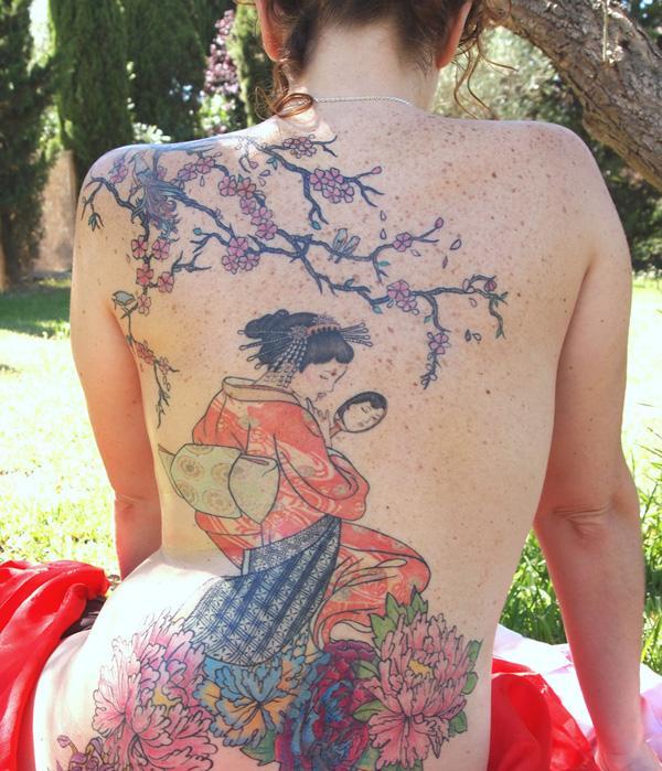 Geisha Flower Tattoo